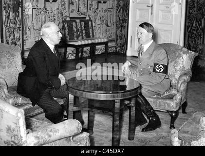 Adolf Hitler and Emil Hacha in Prague, 1939 - Stock Photo