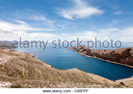 View of Isla del Sol and Lake Titicaca, La Paz Department, Bolivia. - Stock Photo
