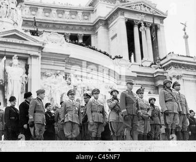 Rudolf Hess at a ceremony at the altar of the fatherland in Rome, 1937 - Stock Photo