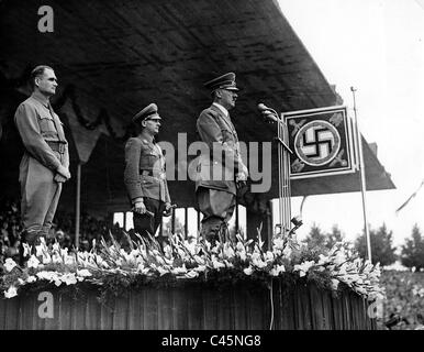 Adolf Hitler and Rudolf Hess on the Reich Party Congress of the NSDAP in Nuremberg, 1938 - Stock Photo