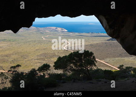 View from cave at summit of Frenchman Peak. Cape Le Grand National Park, Esperance, Western Australia, Australia - Stock Photo