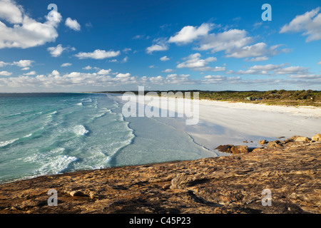 View along Le Grand Beach at sunset. Cape Le Grand National Park, Esperance, Western Australia, Australia - Stock Photo