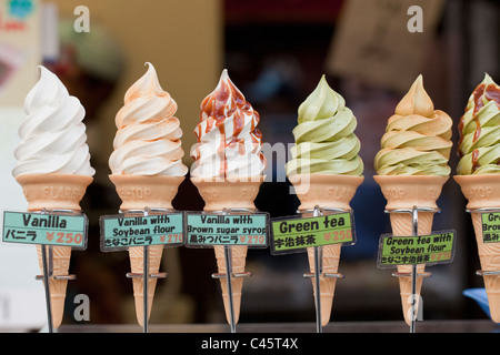 Plastic ice cream cones on display in  shop, Kyoto, Japan. - Stock Photo