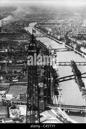 The Eiffel Tower with Imperial War Flag, 1941 - Stock Photo
