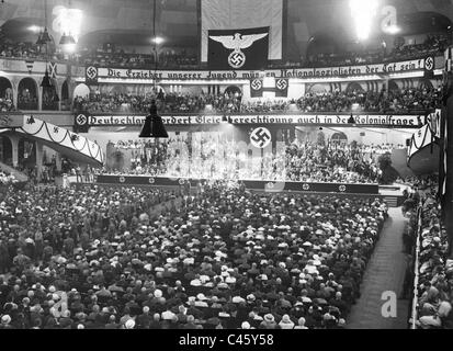 Colonial rally of the NS Teachers' League in the Sport Palace, 1934 - Stock Photo