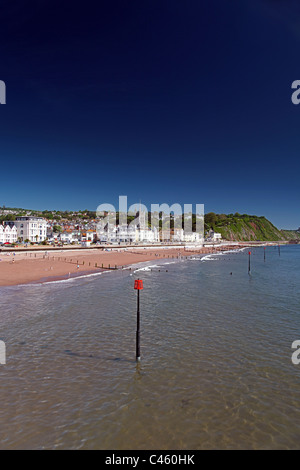 Teignmouth seafront and beach viewed from the pier Devon, England, UK - Stock Photo