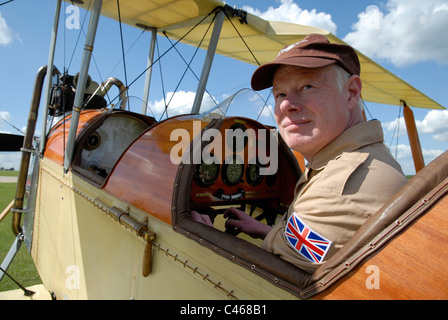 Matthew Boddington in his replica Be-2C WW1 vintage biplane at Sywell Aerodrome, Northamptonshire, 1-06-2011. - Stock Photo