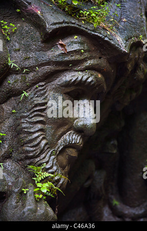 Artisans have carved the story of the RAMAYANA in stone along the banks of the AYUNG RIVER - UBUD, BALI, INDONESIA - Stock Photo