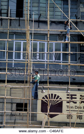 China, Hong Kong, Kowloon, scaffoldings - Stock Photo