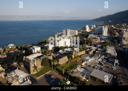 Aerial photograph of 18th century fortress in the modern city of Tiberias in the Sea of Galilee - Stock Photo