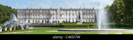 landmark famous castle Herrenchiemsee of King Ludwig II. in Bavaria, Germany - Stock Photo