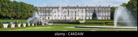landmark famous castle Herrenchiemsee of King Ludwig II. in Bavaria, Germany - Stock Photo