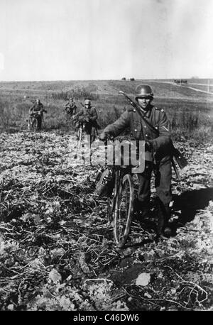Second World War: German Bicycle Infantry - Stock Photo