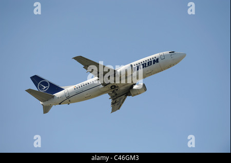 airplane Boeing 737-300 of bulgarian airline Tarom at take-off from airport Munich in Germany - Stock Photo