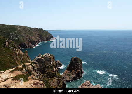 The cliffs at mainland Europe's most westerly point, Cabo da Roca in Portugal. - Stock Photo
