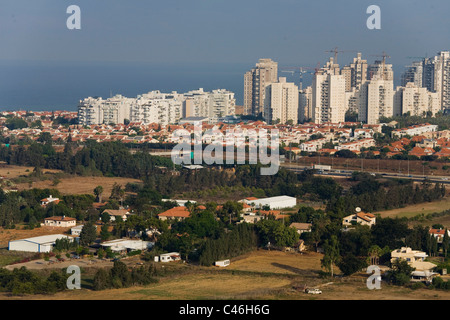 Aerial photograph of the village of Udim in the Sharon - Stock Photo