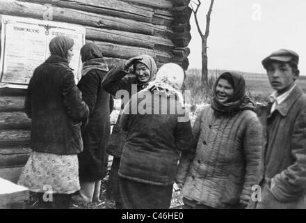 Second World War: German Nazi Propaganda in occupied Soviet Union - Stock Photo