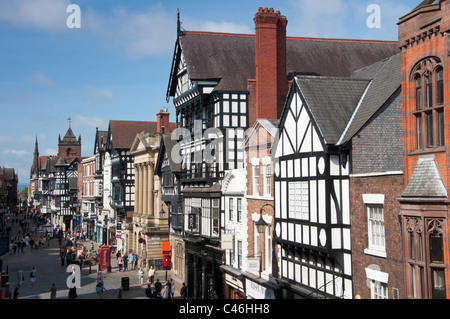 Chester city skyline, looking down Eastgate street. Cheshire. UK - Stock Photo