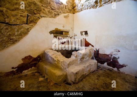 Photograph a Roman Bath house in the archeologic site of Masada - Stock Photo