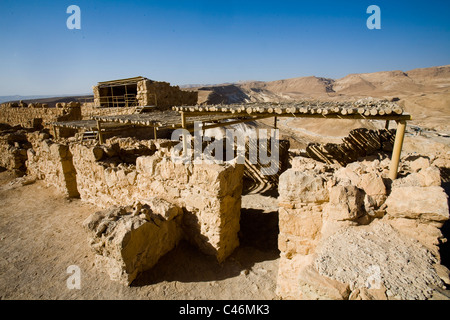Photograph of the western palace of the archeologic site of Masada - Stock Photo