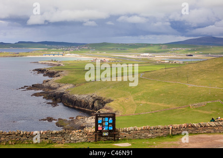 View along the coast to the airport from Sumburgh Head at Sumburgh, South Mainland, Shetland Islands, Scotland, - Stock Photo