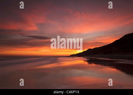 Early morning winter sunrise over cromer's east beach - North Norfolk - Stock Photo