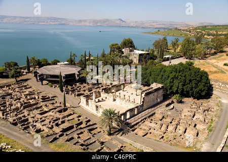 Aerial photograph of the ruins of Capernaum in the sea of Galilee - Stock Photo