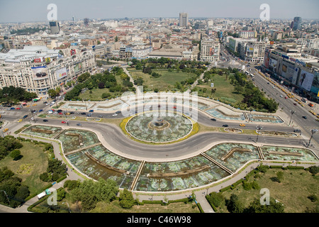 Aerial photograph of the modern city of Bucharest in Romania - Stock Photo
