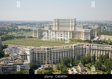 Aerial photograph of the Romanian Palace of Parliament in the city of Bucharest - Stock Photo
