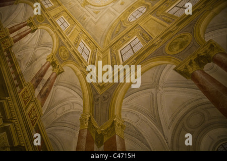 Example of perspective painted on a flat ceiling in the Residenz Museum, Munich, Germany - Stock Photo