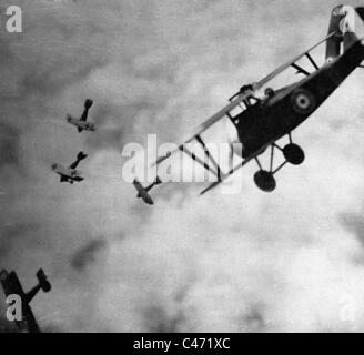 Aerial combat between British and German airplanes in the First World War - Stock Photo