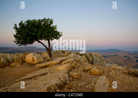 Photograph of the Arbel mountain at sunrise - Stock Photo