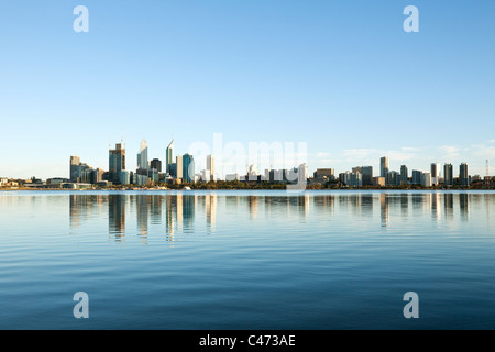 View across Swan River to city skyline. Perth, Western Australia, Australia - Stock Photo