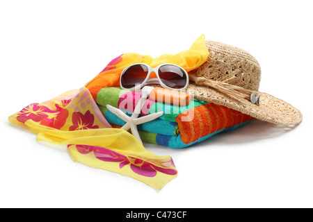 Beach accessories--Straw hat,shawl,sunglasses and towel isolated on white background. - Stock Photo