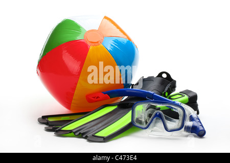 Diving equipment--Diving goggles,snorke,flippers and ball on white background. - Stock Photo