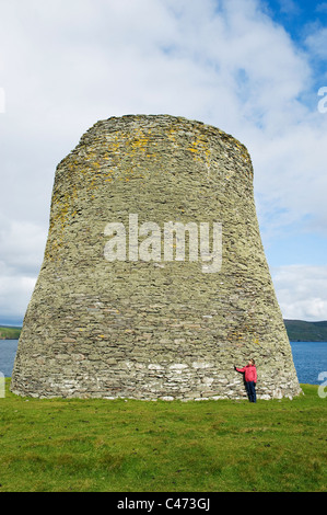 Broch of Mousa, Stone defensive tower, ca 100 BC, 44 feet (13 m) high, best-preserved in Europe, Shetland Islands, - Stock Photo