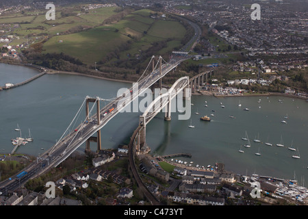 Aerial view of the Tamar Road Bridge and Isambard Kingdom Brunel's Royal Albert Bridge, Plymouth, Devon, UK - Stock Photo