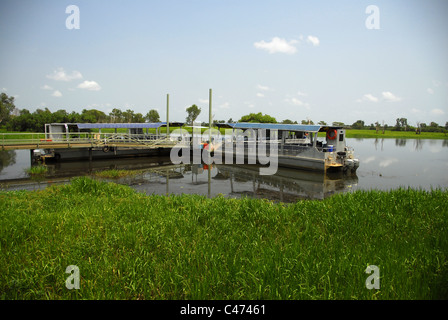 Wildlife Cruise ponton for Yellow Water and South Alligator River in Kakadu National Park, Northern Territory, Australia - Stock Photo