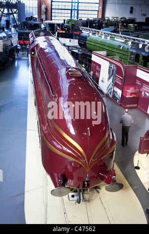 The Duchess of Hamilton preserved streamlined steam locomotive at the National Railway Museum in York - Stock Photo