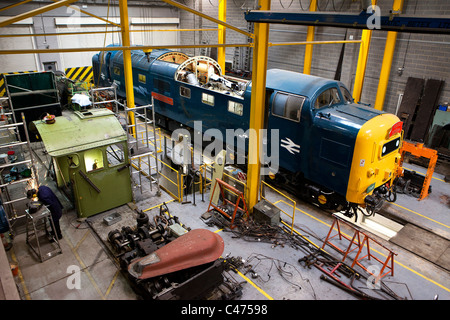 Engineering workshop at the National Railway Museum in York - Stock Photo