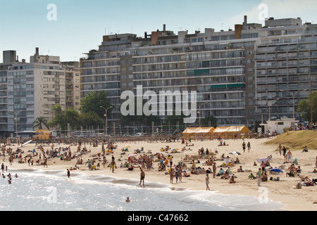 Playa Pocitos, City Beach. Montevideo, Uruguay. - Stock Photo