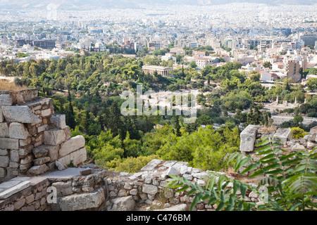 The Ancient Agora seen from the Acropolis, Athens Greece - Stock Photo