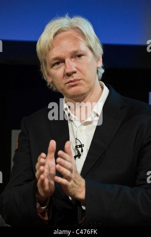Julian Assange founder of Wikileaks being interviewed at Hay Festival 2011 - Stock Photo