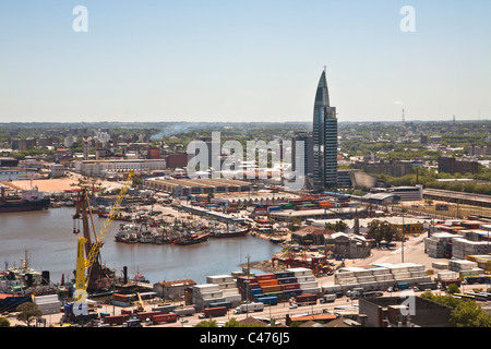 Montevideo Harbour and ANTEL Tower, Uruguay - Stock Photo