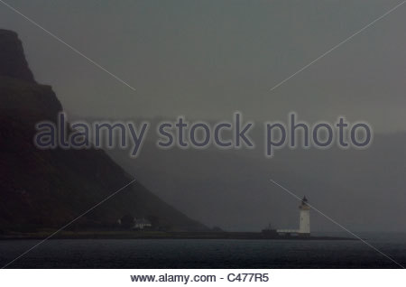 Lighthouse at Rubha nan Gall on the Sound of Mull north of Tobermory, Isle of Mull, Inner Hebrides, Scotland. A - Stock Photo