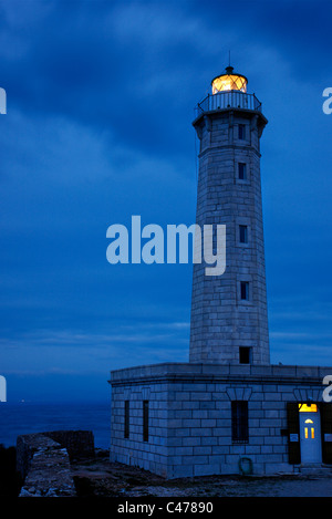 The lighthouse of Cranae island in Gytheio town, Mani region, Lakonia, Peloponnese, Greece - Stock Photo