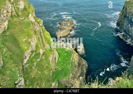 The 330 Whaligoe Steps descend a cliff to North Sea coast Whaligoe Harbour, Wick, Caithness, Scotland. 19th C herring - Stock Photo