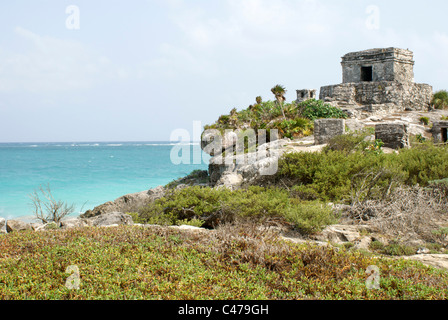 Temple of the Wind God at the ancient Mayan ruins of Tulum on the Riviera Maya, Quintana Roo, Mexico - Stock Photo
