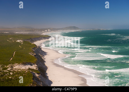 Aerial view of the west coast north of Cape Town in South Africa. Koeberg nuclear power station and is visible in - Stock Photo
