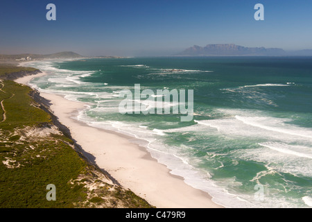 Aerial view of the west coast north of Cape Town in South Africa. - Stock Photo